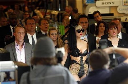 Singer Lady Gaga arrives at an album-signing event for her new release ''Born This Way'' at Best Buy in New York City May 23, 2011. REUTERS/Jessica Rinaldi