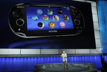 Kazuo Hirai, President and Group CEO of Sony Computer Entertainment, presents the new PlayStation Vita handheld games device during a media briefing before the opening day of the Electronic Entertainment Expo, or E3, at the Memorial Sports Arena in Los Angeles June 6, 2011. REUTERS/Mario Anzuoni
