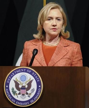 U.S. Secretary of State Hillary Clinton speaks during a news conference at the U. S. embassy in Islamabad May 27, 2011. REUTERS/Stringer