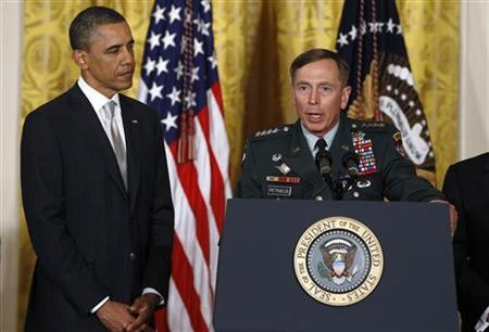 General David Petraeus speaks after being introduced by President Barack Obama (L) at the White House in Washington, April 28, 2011. REUTERS/Larry Downing