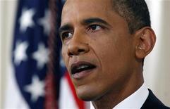 Президент США Барак Обама во время телеобращения в Вашингтоне, 22 июня 2011 года. Президент США Барак Обама в среду объявил план вывода американских войск из Афганистана, сделав первый шаг к завершению долгой и дорогостоящей войны. REUTERS/Pablo Martinez Monsivais/Pool