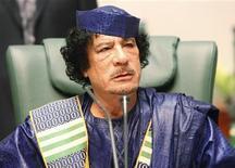 <p>Libyan leader Muammar al-Gaddafi attends the closing session of the Arab League summit in Sirte October 9, 2010. REUTERS/Ismail Zitouny</p>