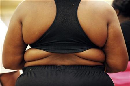 A competitor stands before judges at a casting call for the second season of the reality television programme ''Dance Your Ass Off'', during which overweight or obese contestants hope to lose weight by dancing, in New York, December 18, 2009. REUTERS/Finbarr O'Reilly