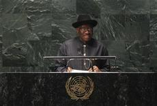President of Nigeria, Goodluck Jonathan, addresses diplomats gathered in the UN General Assembly for the 2011 High Level Meeting on AIDS at UN Headquarters in New York June 8, 2011.  REUTERS/Lucas Jackson