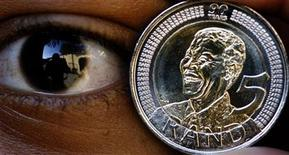 A file photo shows the South African five rand coin.   REUTERS/Juda Ngwenya/file