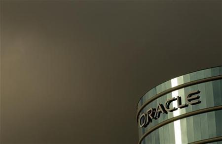 The company logo is shown at the headquarters of Oracle Corporation in Redwood City, California February 2, 2010.