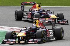 Carros da Red Bull durante Grande Prêmio da Bélgica em Spa-Francochamps, em agosto de 2011. REUTERS/Thierry Roge