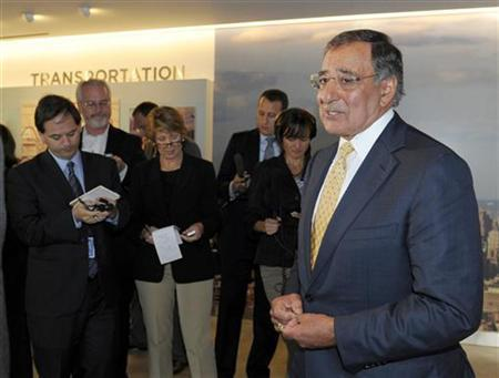 Defense Secretary Leon Panetta speaks to reporters after touring the National September 11 Memorial & Museum in New York September 6, 2011. REUTERS/Susan Walsh/Pool