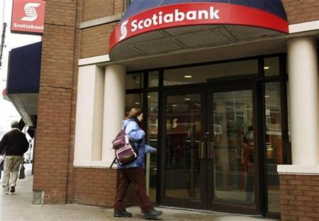 A customer walks into the Scotiabank on Spring Garden road in Halifax, Nova Scotia, March 3, 2009.