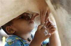<p>Tha Sophat suckles milk from a cow in Nokor Pheas village, Nokor Chum district in Siem Reap September 11, 2011. REUTERS/Samrang Pring</p>