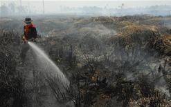 Bombeiro tenta apagar fogo no parque nacional de Berbak, na Indonésia, na segunda-feira. A Cingapura ofereceu enviar aviões para ajudar a Indonésia a conter os incêndios florestais que ameaçam ofuscar a corrida da Fórmula 1 na próxima semana, informou a mídia local nesta quarta-feira.12/09/2011  REUTERS/Andreas Sarwono