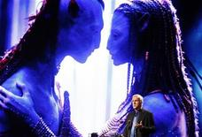 """<p>Film director and Lightstorm Entertainment Chairman James Cameron delivers a keynote address titled """"Renaissance now in imagination and technology"""" in front of an image of his recent movie """"Avatar"""" during the Seoul Digital Forum 2010 May 13, 2010. REUTERS/Jo Yong-Hak</p>"""