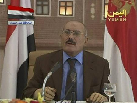 Yemen's President Ali Abdullah Saleh delivers his speech on state television in this still image taken from video October 8, 2011. REUTERS/Yemen TV via Reuters TV