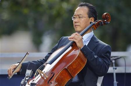 Cellist Yo-Yo Ma plays during ceremonies marking the 10th anniversary of the 9/11 attacks on the World Trade Center, in New York September 11, 2011. REUTERS/Brian Snyder