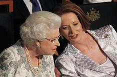 <p>Britain's Queen Elizabeth (L) talks to Australia's Prime Minister Julia Gillard at the Parliamentary Reception given by Gillard at Parliament House in Canberra October 21, 2011. REUTERS/Lukas Coch</p>