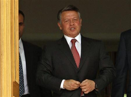 Jordan's King Abdullah leaves the Raghadan Palace after for the swearing-in ceremony of the new cabinet  in Amman October 24, 2011. REUTERS/Muhammad Hamed