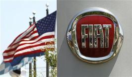 Логотип Fiat перед дилерским отделением в штате Вирджиния, 3 июня 2011 года. Операционная прибыль Fiat-Chrysler достигла 851 миллиона евро в третьем квартале, значительно превысив прогнозы, - две трети этой суммы пришлись на Chrysler, чьи результаты сумели затмить слабые продажи концерна в Европе.  REUTERS/Kevin Lamarque