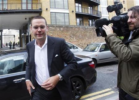 News International Chairman James Murdoch arrives at News International in London July 12, 2011.   REUTERS/Olivia Harris