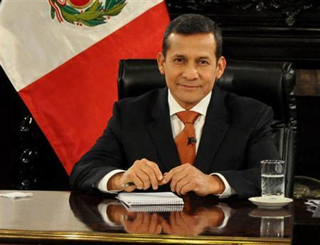 Peru's President Ollanta Humala smiles during an interview at the government palace in Lima November 6, 2011. REUTERS/Andina Agency/Handout