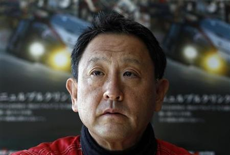President and CEO of Toyota Motor Corporation Akio Toyoda, is interviewed prior to a free practice session ahead of the 35th DMV 250 miles race (DMV 250-Meilen-Rennen) within the VLN endurance racing championship (Langstrecken Meisterschaft Nuerburgring) at the Nuerburgring circuit October 14, 2011.  REUTERS/Alex Domanski