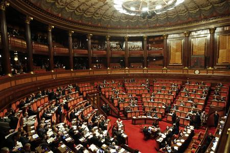 The Senate is seen during a voting session in Rome November 11, 2011. Former European Commissioner Mario Monti emerged on Thursday as favorite to replace Silvio Berlusconi at the head of an emergency government as Italy's politicians rushed to ward off a crisis that is endangering the entire euro zone.  REUTERS/Stefano Rellandini