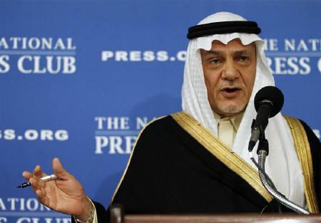 Prince Turki Al Faisal of Saudi Arabia, former director general of the Saudi General Intelligence Directorate, speaks on Saudi issues in Washington November 15, 2011. REUTERS/Molly Riley