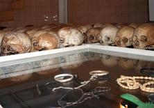 Skulls of the remains of Rwanda genocide victims are seen inside a catholic church in Nyamata 20km from Kigali, April 7, 2008.  REUTERS/Arthur Asiimwe