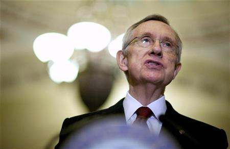 Senate Majority Leader Harry Reid (D-NV) speaks to the media after a caucus meeting with Senate Democrats on Capitol Hill in Washington August 1, 2011.    REUTERS/Joshua Roberts