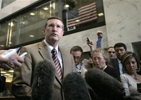 U.S. Senate Budget Chairman Kent Conrad (D-ND) talks to the media after the Senate's ''Gang of Six'' meeting on healthcare reform on Capitol Hill in Washington, September 15, 2009. REUTERS/Yuri Gripas