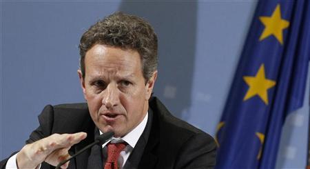 U.S. Treasury Secretary Timothy Geithner addresses the media after talks with German Finance Minister Wolfgang Schaeuble in Berlin December 6, 2011. REUTERS/Tobias Schwarz