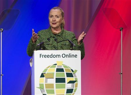 U.S. Secretary of State Hillary Clinton speaks during the Freedom internet conference in the Hague December 8, 2011. REUTERS/Michael Kooren