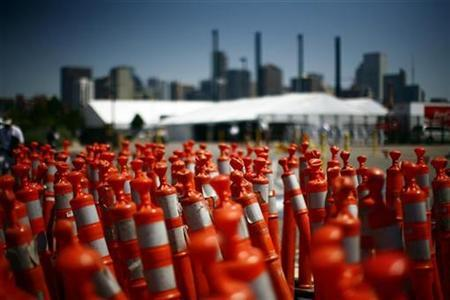 Traffic cones are stacked at the Pepsi Center, site of the Democratic National Convention in Denver, Colorado August 22, 2008. REUTERS/Eric Thayer