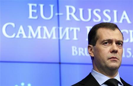 Russia's President Dmitry Medvedev looks on during a news conference at the end of a EU-Russia summit at the European Union Council in Brussels December 15, 2011. REUTERS/Thierry Roge