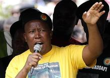 Suspended African National Congress Youth League (ANCYL) leader Julius Malema addresses his supporters during a march in Johannesburg October 27, 2011. REUTERS/Siphiwe Sibeko