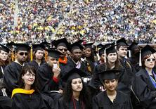 <p>Graduating students listen to President Barack Obama speak at the University of Michigan commencement ceremony in Ann Arbor, Michigan May 1, 2010. REUTERS/Kevin Lamarque</p>