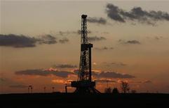 Буровая установка около села Лесневице на юго-востоке Польши 28 ноября 2011 года. Нефть Brent, вероятно, завершит год подорожанием почти на 14 процентов, так как политические проблемы в странах Организации стран-экспортеров нефти нивелируют влияние мирового экономического спада, который замедляет рост спроса на топливо. REUTERS/Kacper Pempel