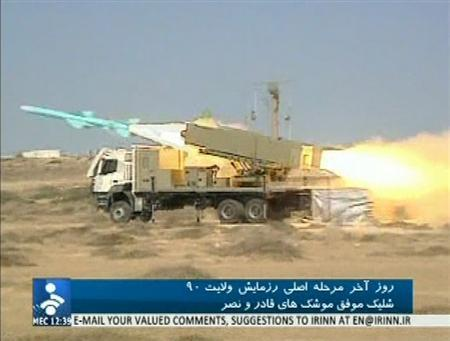 A Qader missile is launched from a missile truck in an unknown location in this still image taken from footage released by Islamic Republic of Iran News Network (IRINN) on January 2, 2012.  REUTERS/IRINN via Reuters TV