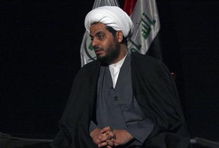 Iraq's Shi'ite militia leader Qais al-Khazali, the leader of Asaib al-Haq, speaks to Reuters during an interview in Baghdad January 4, 2012. REUTERS/Kareem Raheem