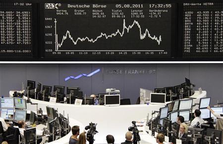 TV crews film the DAX board at the Frankfurt stock exchange August 5, 2011. REUTERS/Remote/Pawel Kopczynski/Files
