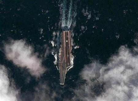 The Chinese aircraft carrier Varyag is pictured during its second sea trial in the Yellow Sea, approximately 62 miles south-southeast of the port of Dalian, in this DigitalGlobe photograph released on December 14, 2011.   REUTERS/DigitalGlobe