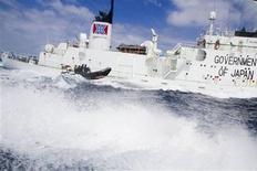 A small boat from the Sea Shepherd vessel, Steve Irwin, makes a reconnaissance trip past the Japanese whaling ship the Shonan Maru #2 near Freemantle in this handout picture released to Reuters on January 8, 2012. REUTERS/Sea Shepherd/Handout