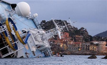 A view shows the capsized Costa Concordia cruise ship lying on its side after being holed by a rock off the west coast of Italy, at Giglio island January 15, 2012. REUTERS/ Max Rossi