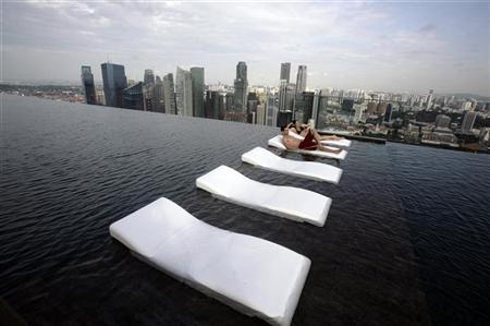 A View Of The Infinity Pool Skypark That Tops Marina Bay Sands Hotel Towers In Singapore June 24 2010 Reuters Vivek Prakash