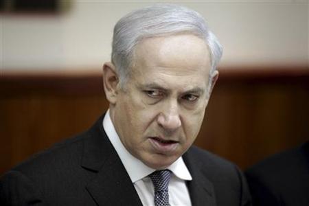 1月24日、イスラエルのネタニヤフ首相は、イランの核開発疑惑をめぐり緊迫する国際情勢について、ホロコーストを教訓とし、自国防衛のためには単独行動も辞さないとの考えを示した。22日撮影(2012年 ロイター)