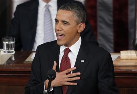 1月24日、オバマ米大統領が行った一般教書演説は、11月の大統領選挙を控えて中間層に配慮した内容となった(2012年 ロイター/Jason Reed)