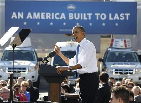 U.S. President Barack Obama speaks at a UPS facility in Las Vegas, Nevada, January 26, 2012. Obama used the event to talk about American energy and liquefied natural gas. REUTERS/Jason Reed