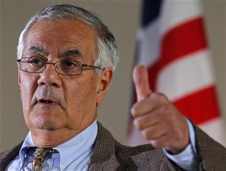 Rep. Barney Frank (D-MA) gestures while speaking at a news conference announcing that he would not seek a 17th term in congress next year in Newton, Massachusetts November 28, 2011.    REUTERS/Adam Hunger