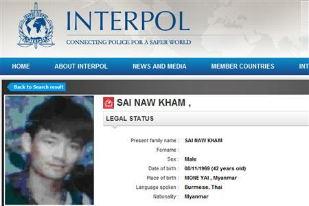 A screenshot from Interpol web site shows Naw Kham January 21, 2012. Many shipping attacks in the Golden Triangle region where the borders of Thailand, Laos and Myanmar meet are attributed to Naw Kham, a 46-year-old ethnic Shan. REUTERS/Internet/Interpol