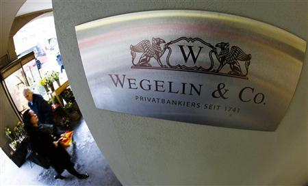A logo of the Swiss bank Wegelin is pictured at a building in Bern, in this January 27, 2012 file photo.    REUTERS/Michael Buholzer/Files