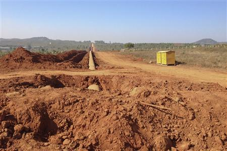 The construction site for a pipeline, which will transport Myanmar's gas into China, is seen outside of the northeastern town of Pyin Oo Lwin January 23, 2012. Picture taken January 23, 2012. REUTERS-Staff
